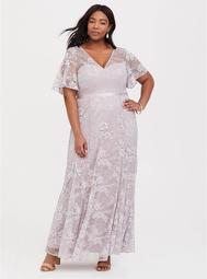 Special Occasion Lilac Purple Lace Gown