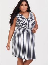 Navy Stripe Challis Shirt Dress