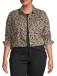 Women's Plus Size Animal Print Jacket