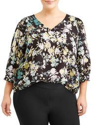 Lifestyle Attitudes Women's Plus Sized Peasant Printed Blouse