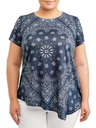 Women's Plus Size Asymmetrical Flutter Sleeve Printed Tee