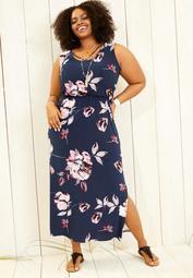 plus size strappy neck floral maxi dress