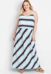 plus size stripe flare v-neck maxi dress