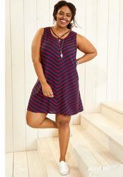 plus size strappy neck chevron dress