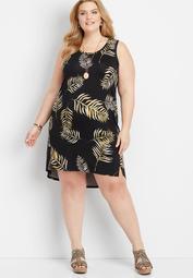 plus size 24/7 leaf print tank dress