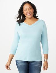 Plus Size Textured-Trim Sweater