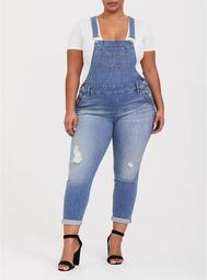 Straight Leg Overall - Distressed Light Wash