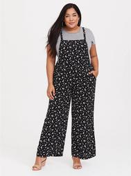 Black Floral Crepe Wide Leg Overall