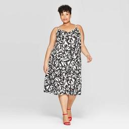 Women's Plus Size Floral Print Sleeveless V-Neck Shift Dress - Ava & Viv™ Black