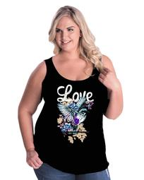 love life floral hummingbird plus size womens tank top