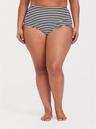 Black & White Stripe High Waist Smooth Swim Bottom