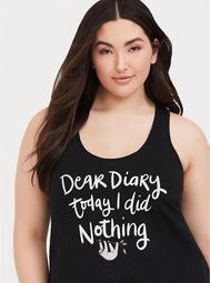 Black Dear Diary Sloth Sleep Tank