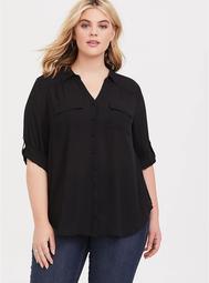Black Georgette Button-Down Shirt