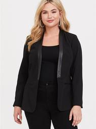 Black Faux Leather Trimmed Blazer