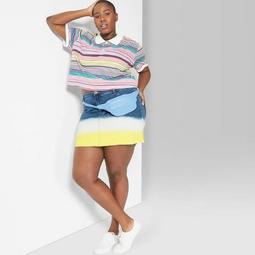 Women's Plus Size Dip Dye Denim Wash Mini Skirt - Wild Fable™ Yellow