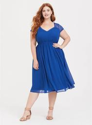 Blue Lace Inset Chiffon Midi Dress