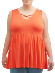 Terra & Sky Women's Plus Size High Low Peplum Tank