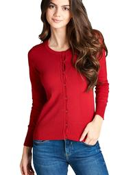 Button Up Crew Neck Cardigan Sweater (Plus Size)