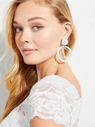 Faux-Stone Hoop Earrings