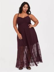 Burgundy Purple Mesh Maxi Dress