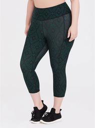 Black & Green Diamond Crop Active Legging