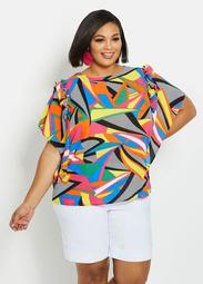Abstract Ruffle-Trimmed Keyhole Top