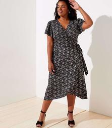 LOFT Plus Vine Flutter Midi Wrap Dress