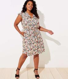 LOFT Plus Floral Ruffle Drawstring Dress