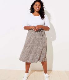 LOFT Plus Leopard Print Tie Waist Midi Skirt