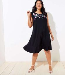 LOFT Plus Floral Embroidered Flounce Swing Dress