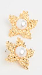 Gold Starfish Imitation Pearl Studs