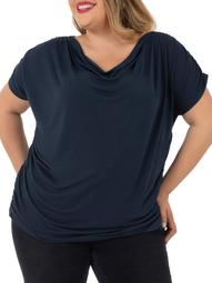 Womens Plus Size Short Sleeved Drape Front Top