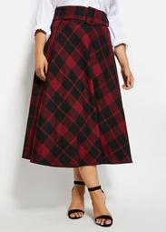 Belted Plaid Maxi Skirt