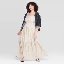 Women's Plus Size Sleeveless Square Neck Tiered Maxi Dress - Universal Thread™ White
