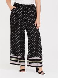 Black & Lilac Mixed Print Challis Wide Leg Pant