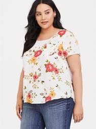 Abbey - Ivory Floral Georgette Button Back Blouse