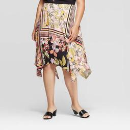 Women's Plus Size Floral Print Mid-Rise Scarf Print Slip Skirt - Who What Wear™ Pink 26W
