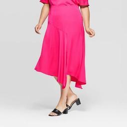 Women's Plus Size Asymmetric Seamed Slip Skirt - Who What Wear™ Pink 18W