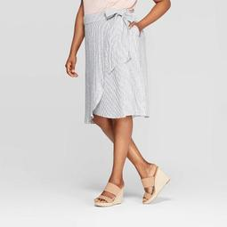 Women's Plus Size Striped Linen Tie Waist Skirt - Ava & Viv™ Blue