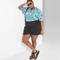 Women's Plus Size Wrap Mini Skirt - Wild Fable™ Black