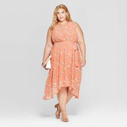 Women's Plus Size Floral Print Sleeveless Crewneck Pleated Midi Dress - Ava & Viv™ Apricot