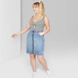 Women's Plus Size Zip-Front Denim Midi Skirt - Wild Fable™ Medium Wash