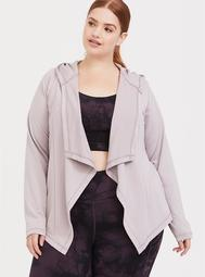 Lilac Purple Hooded Drape Active Cardigan