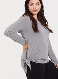 Grey Asymmetrical Terry Active Sweatshirt