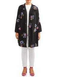 Women's Plus Size Kimono with Flared Sleeves