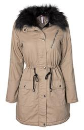 Womens Cotton Twill Quilt Lined Military Anorak Midlength Jacket With Faux Fur Collar