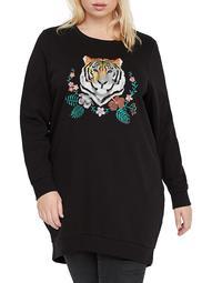 Plus Embroidered Longline Sweatshirt