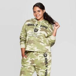 Women's Smokey Bear Only You Camo Print Plus Size Long Sleeve Cropped Hoodie (Juniors') - Olive