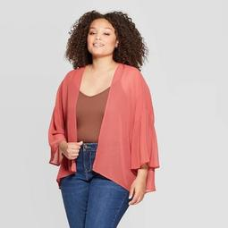Women's Plus Size Woven Print Pleat Back Kimono - A New Day™ Pink