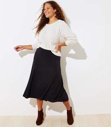 LOFT Plus Flared Pull On Midi Skirt